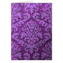 Damask Cut Velvet, Embossed Leaves in Purple