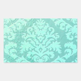 Damask Cut Velvet, Embossed Satin in Mint Green Rectangle Sticker