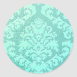 Damask Cut Velvet, Embossed Satin Classic Round Sticker