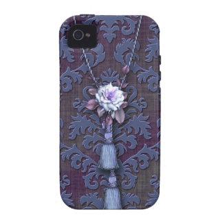 Damask Cut Velvet Rose Tassels in Blue Mauve Case-Mate iPhone 4 Case
