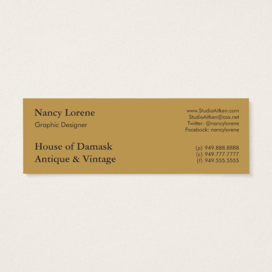Damask Cut Velvet, SATIN ABSTRACT Mini Business Card
