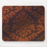 Damask Cut Velvet, Shadow in Orange & Brown Mouse Pad