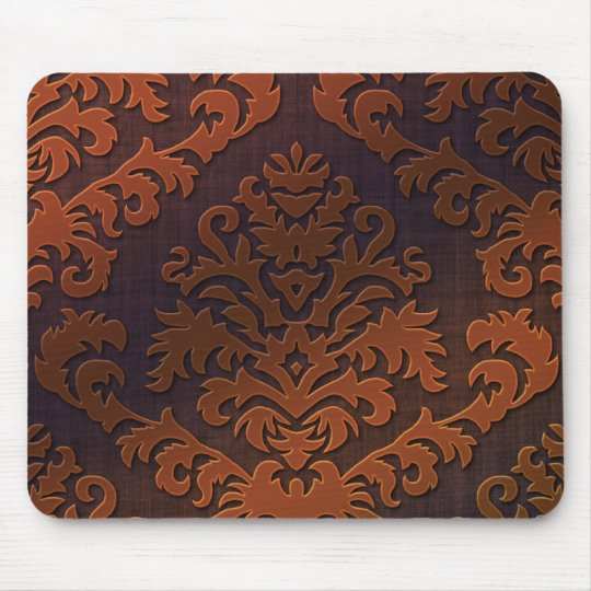 Damask Cut Velvet, Shadow in Orange & Brown Mouse Pad