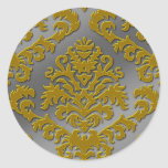Damask Cut Velvet, Silver Metallic in Gold & Gray Round Stickers