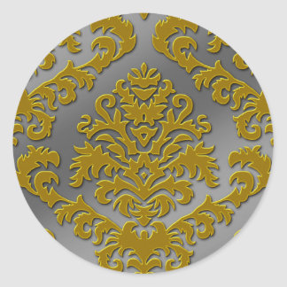 Damask Cut Velvet Silver Metallic in Gold Gray Round Stickers