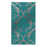 Damask Cut Velvet, Silver Metallic in Teal & Gray Business Card Template