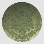 Damask Cut Velvet, Swank Swirls in Olive Round Sticker