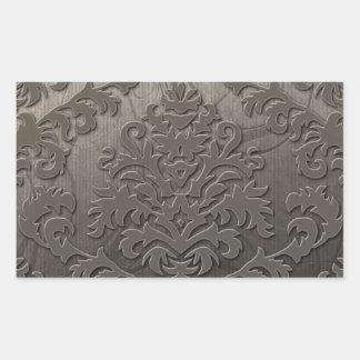 Damask Cut Velvet, Swank Swirls in Taupe Rectangular Stickers