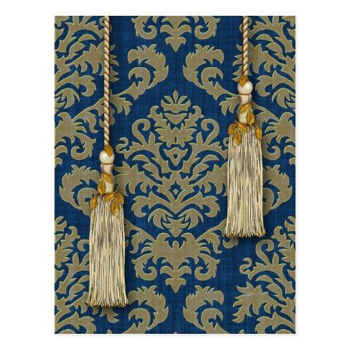 Damask Cut Velvet, Tassels & Leaves in Gold & Blue Postcard