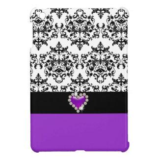 Damask cute heart purple black iPad mini cases