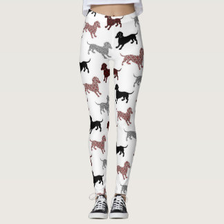 Damask Dachshunds Leggings