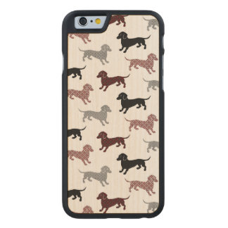 Damask Dackel Cute Dachshunds Carved Maple iPhone 6 Case