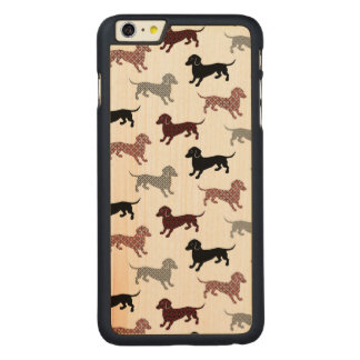 Damask Dackel Cute Dachshunds Carved Maple iPhone 6 Plus Slim Case