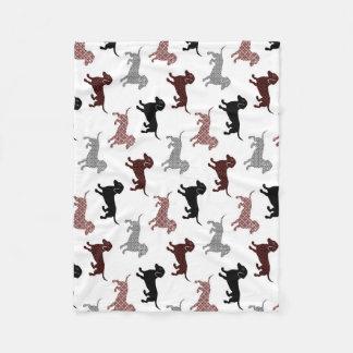 Damask Dackel Cute Dachshunds Fleece Blanket