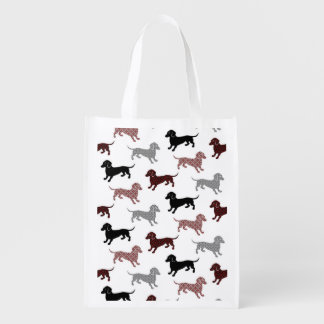 Damask Dackel Cute Dachshunds Grocery Bag