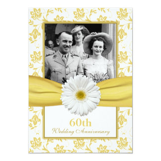 Damask Daisy Diamond 60th Wedding Anniversary 5x7 Paper Invitation Card