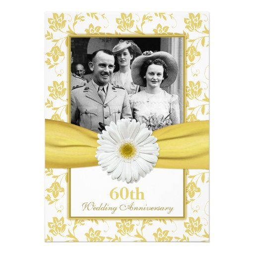 Damask Daisy Diamond 60th Wedding Anniversary Invites