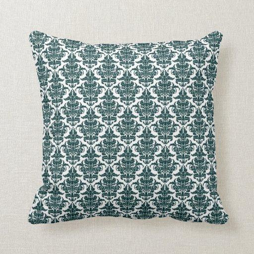 damask dark green on white throw pillow zazzle. Black Bedroom Furniture Sets. Home Design Ideas