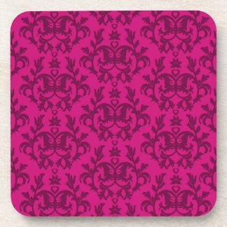 """Damask dark pink """"Kangaroo Paws"""" set of 6 coasters"""