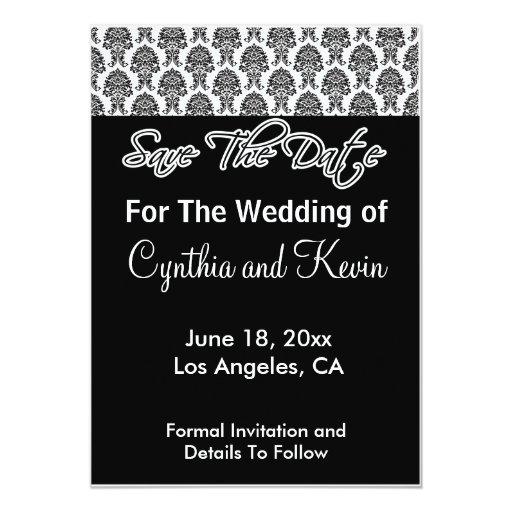 Damask Deco Noir - Save The Date Invitations