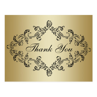 Damask decorated gold Thank You Card Post Card