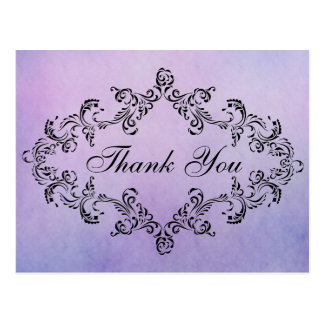 Damask decorated purple Thank You Card Post Card
