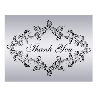 Damask decorated silver Thank You Card Post Card