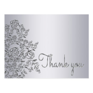 Damask decorated silver Thank You Card Postcard