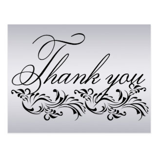 Damask decorated simple Thank You Card Post Card
