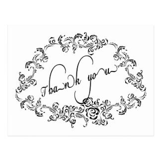 Damask decorated simple Thank You Card Postcard