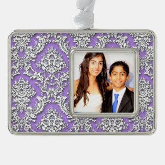 Damask Deep Purple Framed Decoration (Horizontal) Ornament
