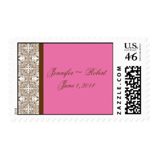 Damask Delight Floral Pink and Brown Postage