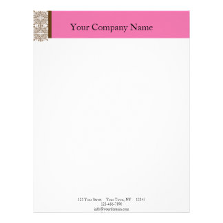 Damask Delight in Brown and Pink Letterhead