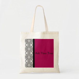 Damask Delight in Cherrystone Red Tote Bags
