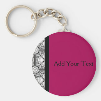 Damask Delight in Cherrystone Red Basic Round Button Keychain