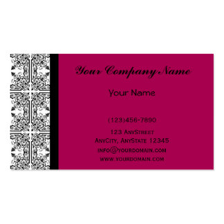 Damask Delight in Cherrystone Red Business Cards