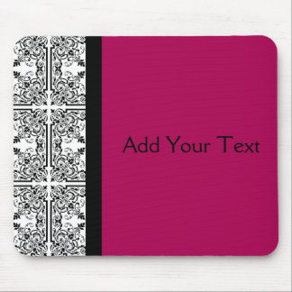 Damask Delight in Cherrystone Red Mouse Pads