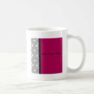 Damask Delight in Cherrystone Red Mugs