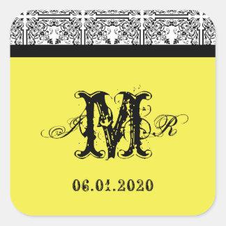 Damask Delight in Lemon Yellow Monogram Sticker