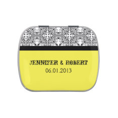 Damask Delight In Lemon Yellow Wedding Tins Jelly Belly Tin at Zazzle