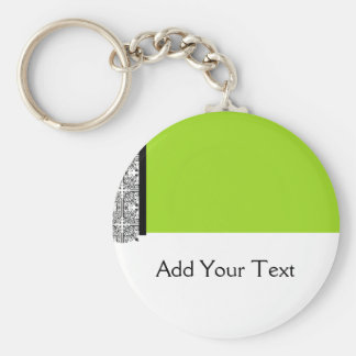 Damask Delight in Lime Green Basic Round Button Keychain