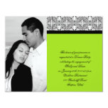 Damask Delight in Lime Green Wedding Engagement 4.25x5.5 Paper Invitation Card