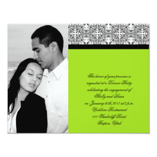 Damask Delight in Lime Green Wedding Engagement Invitations
