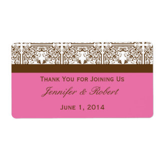 Damask Delight in Pink Brown Water Bottle Label