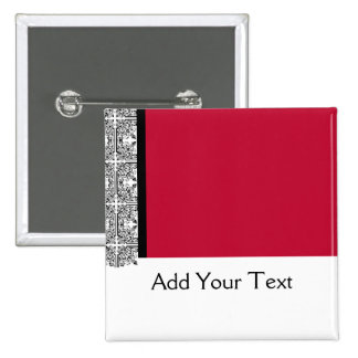 Damask Delight in Scarlet Red Button