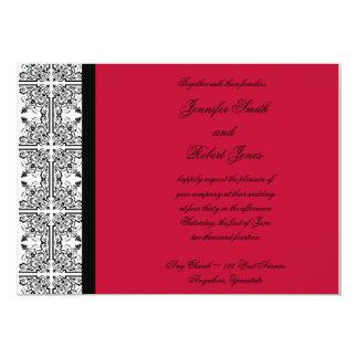 "Damask Delight in Scarlet Red Invitation 5"" X 7"" Invitation Card"
