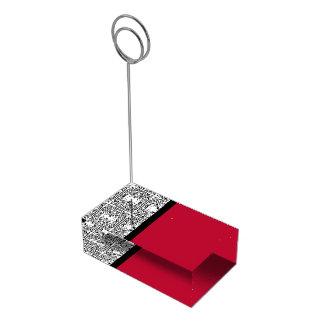 Damask Delight in Scarlet Red Table Number Holder