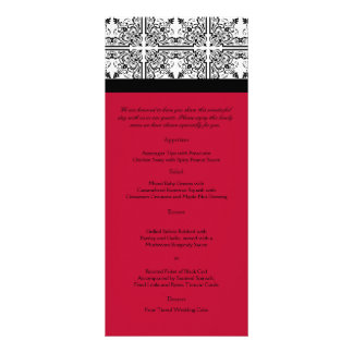 Damask Delight in Scarlet Red Wedding Menu
