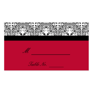 Damask Delight in Scarlet Red Wedding Place Cards Double-Sided Standard Business Cards (Pack Of 100)