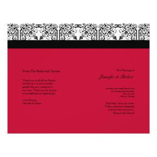 Damask Delight in Scarlet Red Wedding Program Flyers